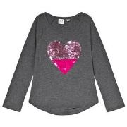 GAP Heather Grey Sequin Heart Raglan Top XS (4-5 år)