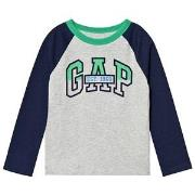 GAP Light Heather Grey Logo Baseball T-Shirt XS (4-5 år)