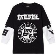 Diesel Logo Double Layer Long Sleeve Tee Black 4 years