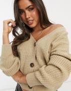 Vero Moda cardigan with volume sleeves in beige-Neutral
