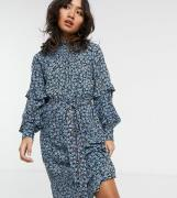 Vero Moda Petite midi dress with shirred neck and sleeve detail in blu...