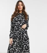 Mamalicious nursing maternity shirt dress in mono abstract print-Black