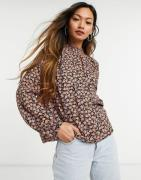 Vero Moda high neck blouse in black and red ditsy floral-Multi
