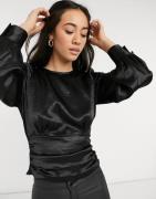 Vero Moda satin blouse with v back in black