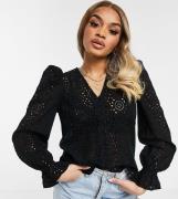 Vero Moda Petite button through broderie blouse in black