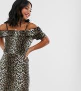 Vero Moda Petite leopard print bardot dress-Multi
