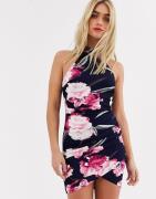 AX Paris floral wrap mini dress-Navy